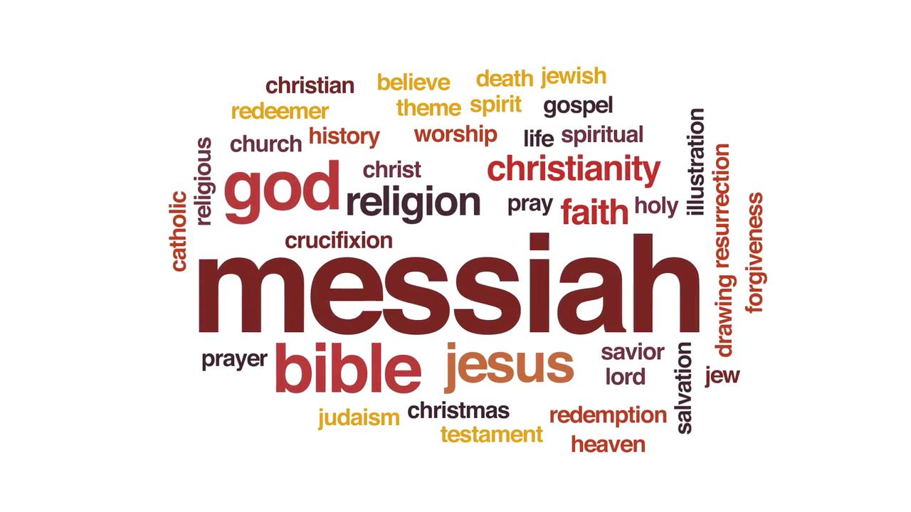 Wortcollage zu Messias auf Englisch